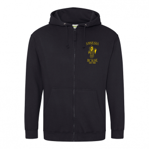 Amnesia House - Black Hoodie - Gold Front Logo (Embroidered)