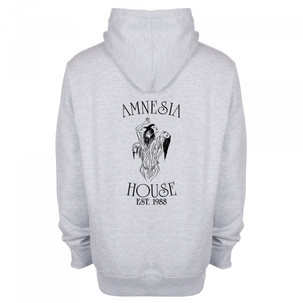 Amnesia House - Grey Hoodie - Black Front + Back Logo (Embroidered)