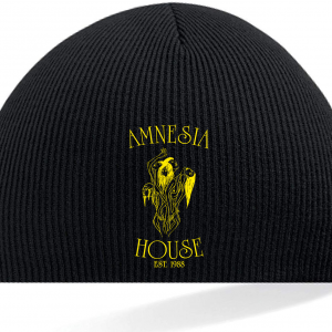 Amnesia House - Black Beanie Hat - Gold Logo (Embroidered)