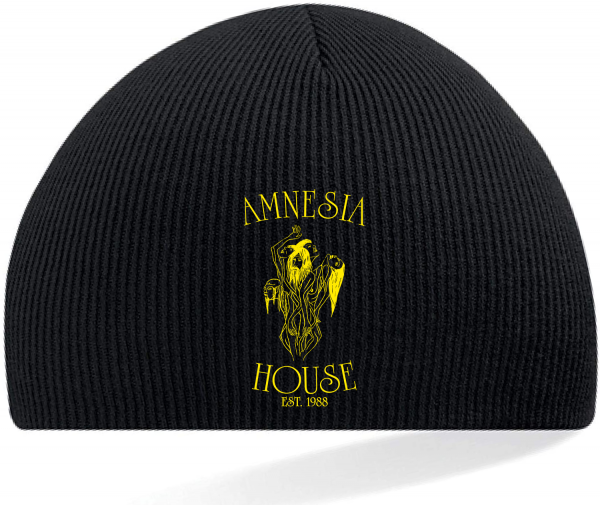 Amnesia House - Black Beanie Hat - Gold Logo (Embroidered)